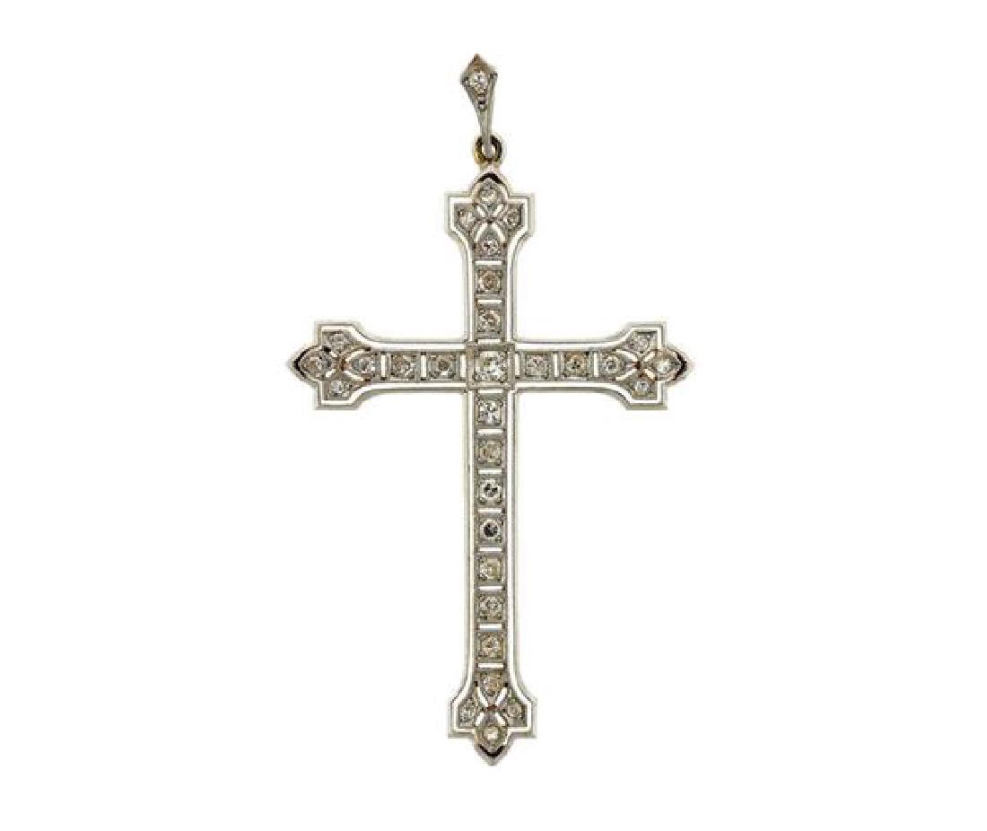 Antique 18K Gold Platinum Diamond Cross Pendant
