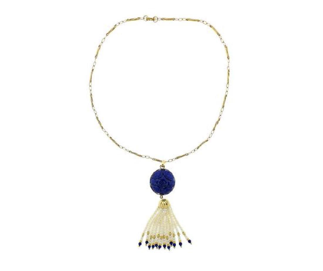 18K Gold Carved Lapis Pearl Tassel Necklace