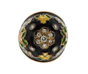 14K Gold Diamond Enamel Dome Ring