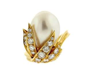 Shaw 18K Gold Pearl Diamond Cocktail Ring