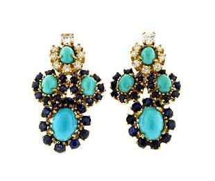 18K Gold Diamond Blue Stone Turquoise Earrings