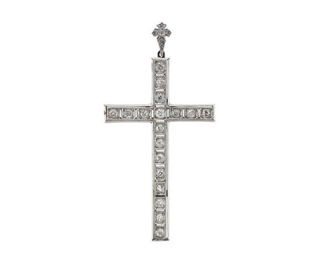 Antique 18K Gold Diamond Cross Pendant