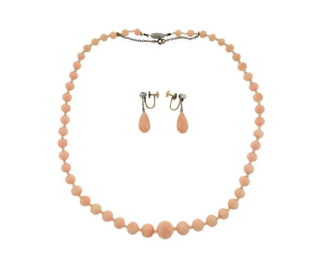 Platinum Gold Diamond Coral Pearl Necklace Earrings Set