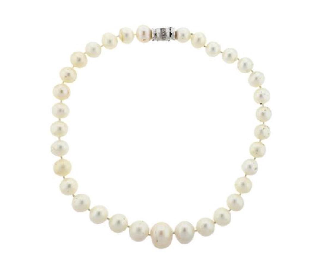 18K Gold Diamond South Sea Pearl Necklace