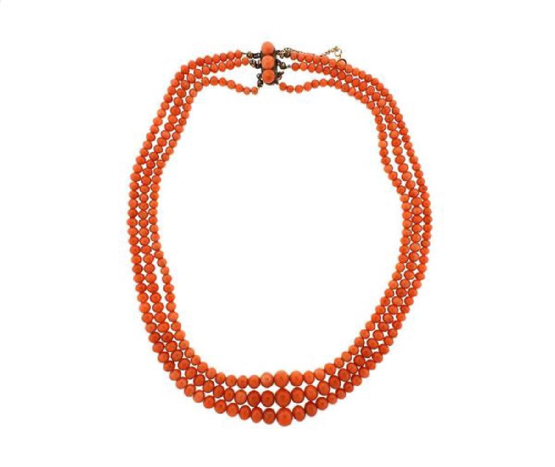 Antique 10k Gold Coral Necklace