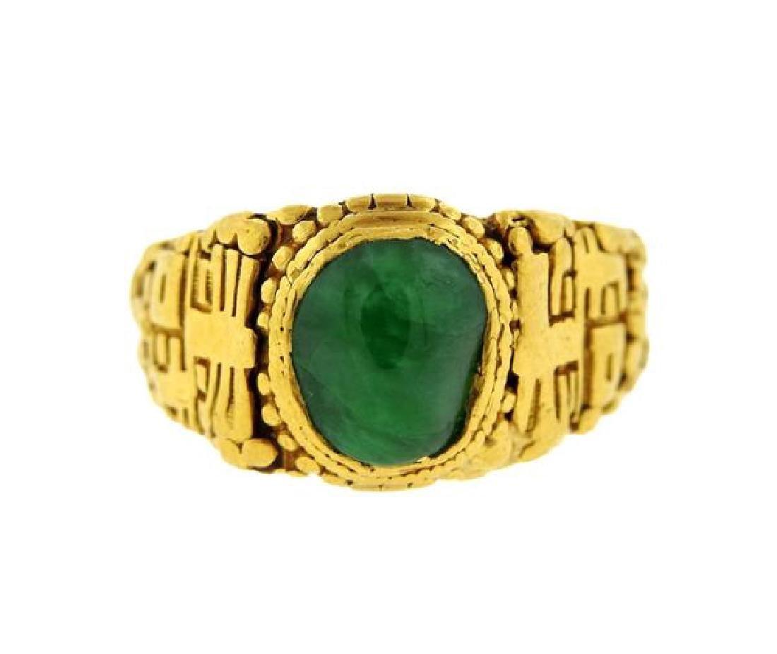 Asian 22k Gold Green Gemstone Ring