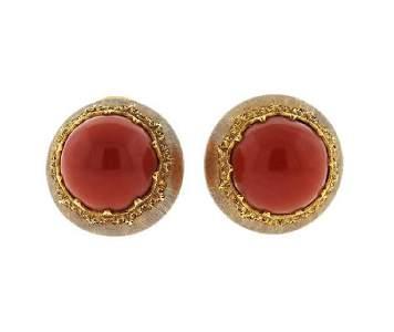 Buccellati 18K Gold Coral Earrings