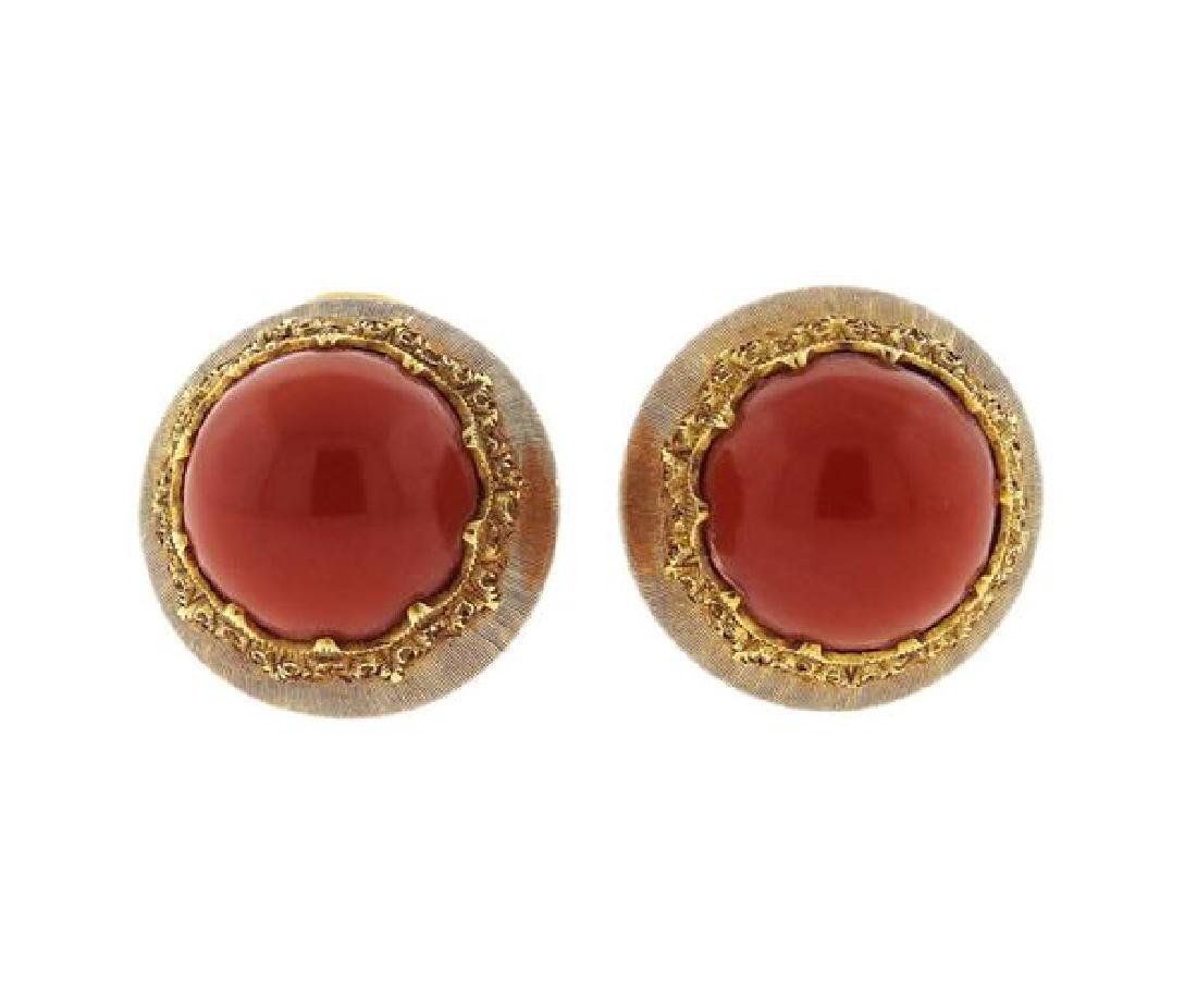 Buccellati 18K Gold Coral Earrings