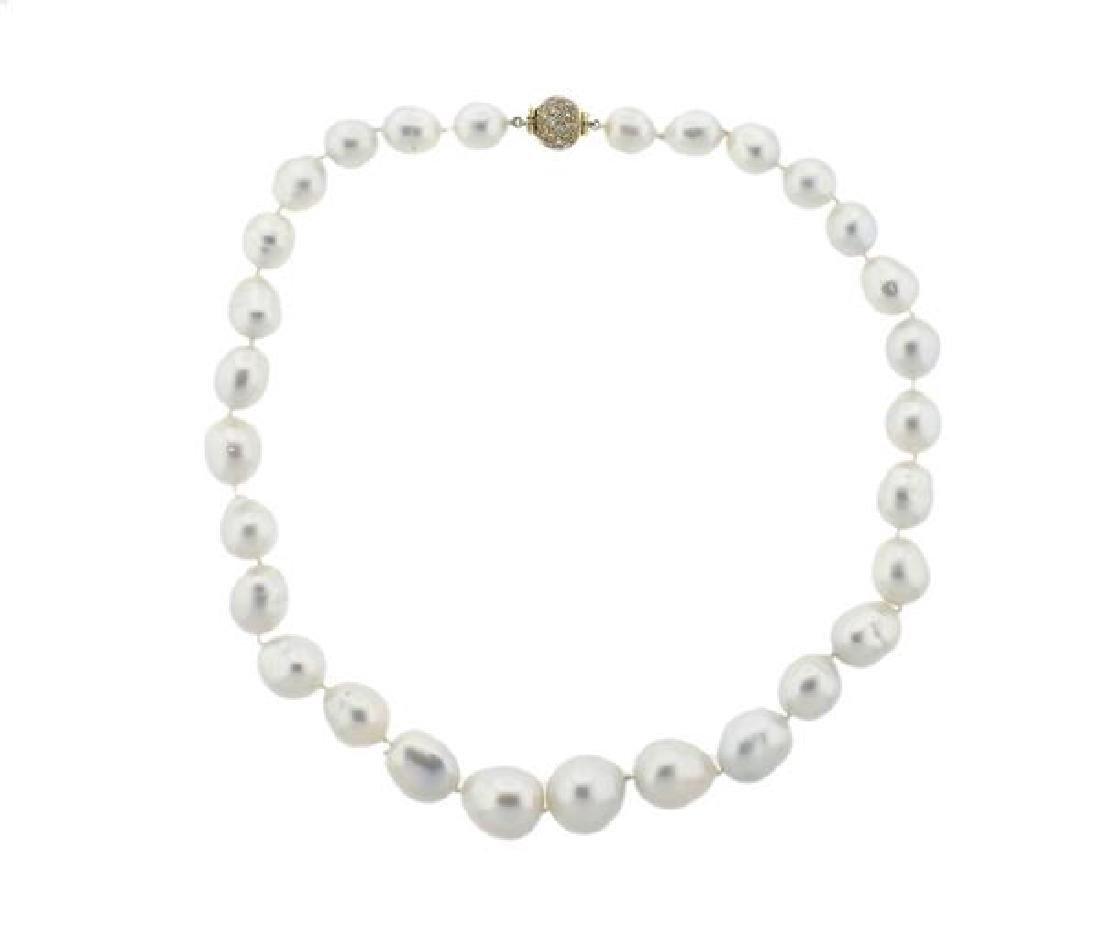 18K Gold Diamond South Sea Baroque Pearl Necklace