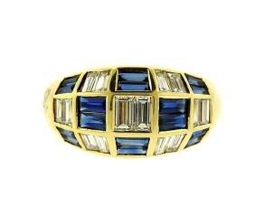 18K Gold Diamond Sapphire Dome Ring