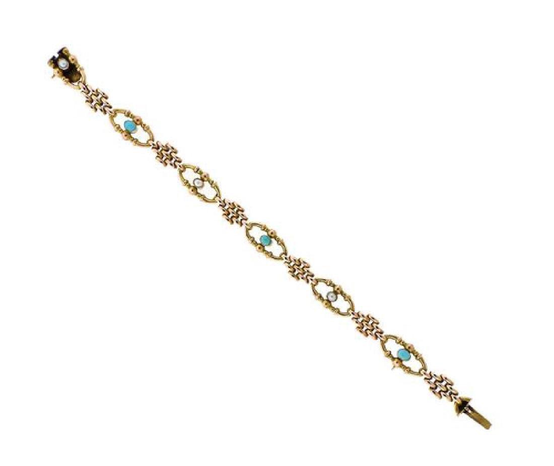 Antique Victorian English 9k Gold Bracelet Pearls