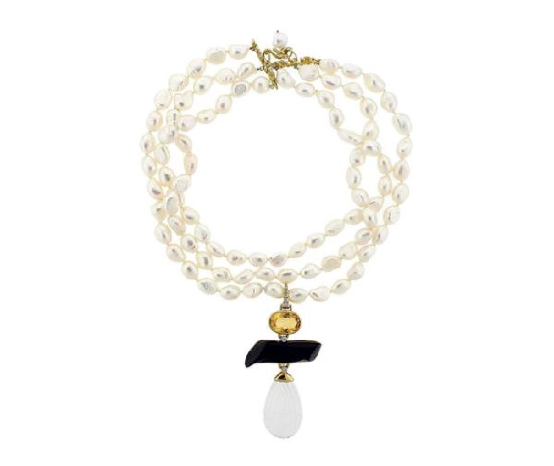 Andrew Clunn Crystal Diamond Coral 18k Gold Pearl