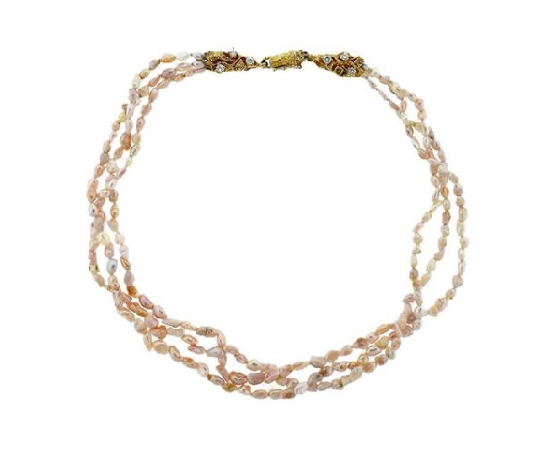 Arthur King 18k Gold Pearl Diamond Multi Strand Choker