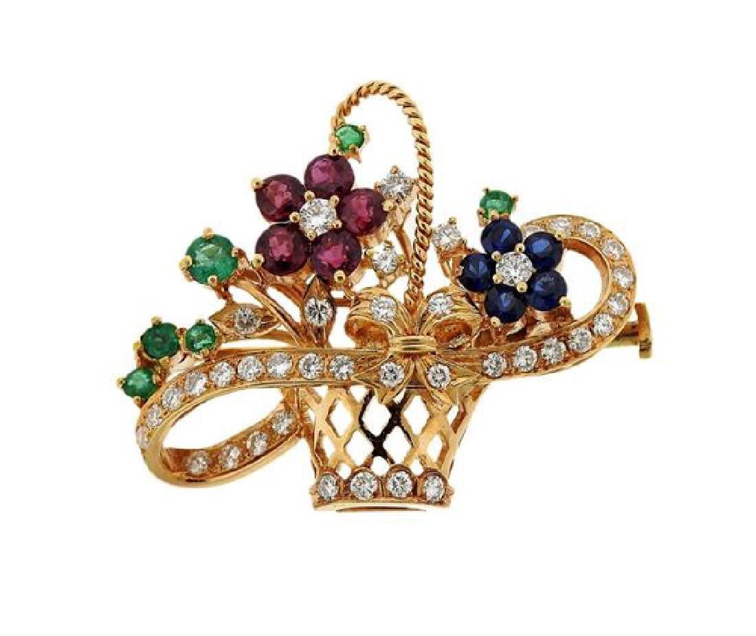 18k Gold Diamond Multi Gemstone Flower Basket Brooch