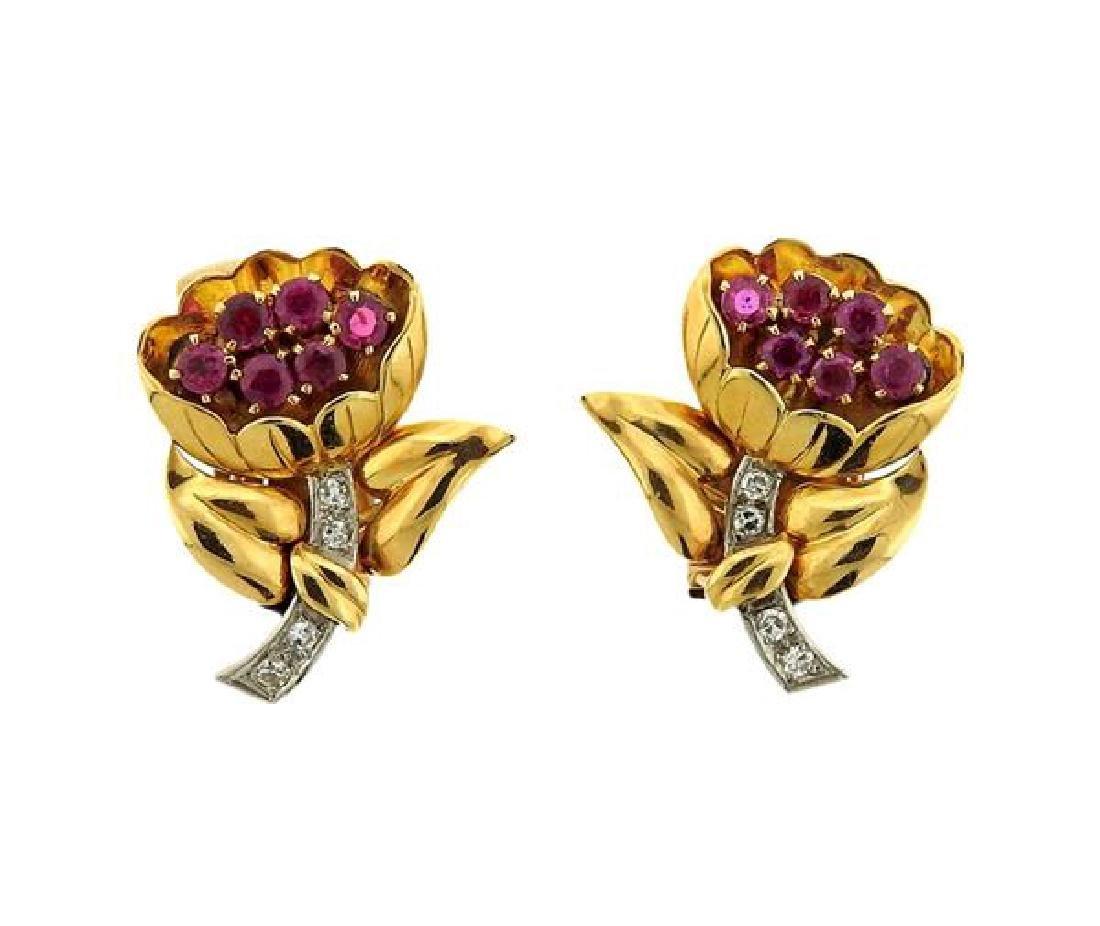 Retro 18K Gold Diamond Red Stone Flower Earrings