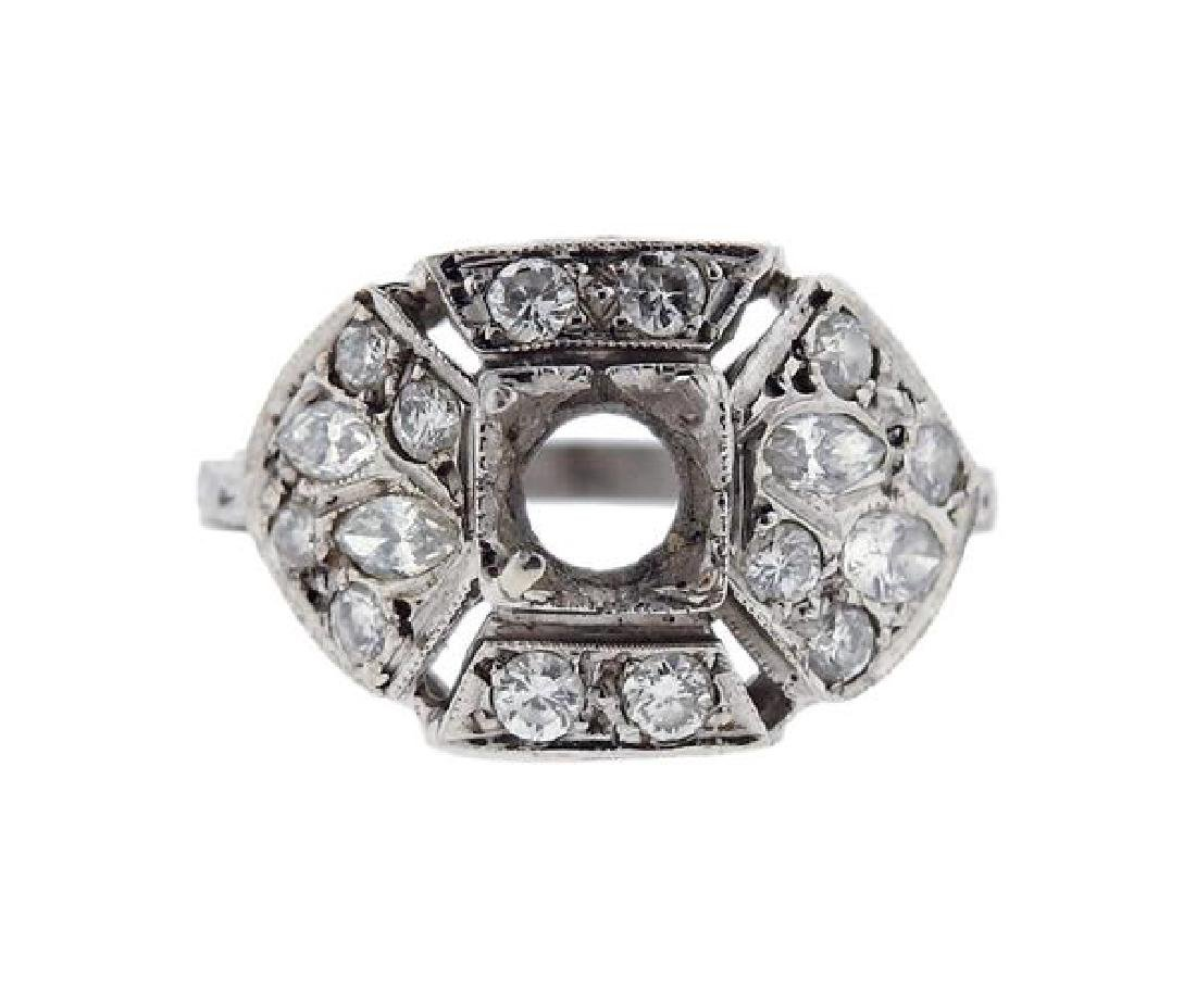 Art Deco Platinum Diamond Engagement Ring Mounting