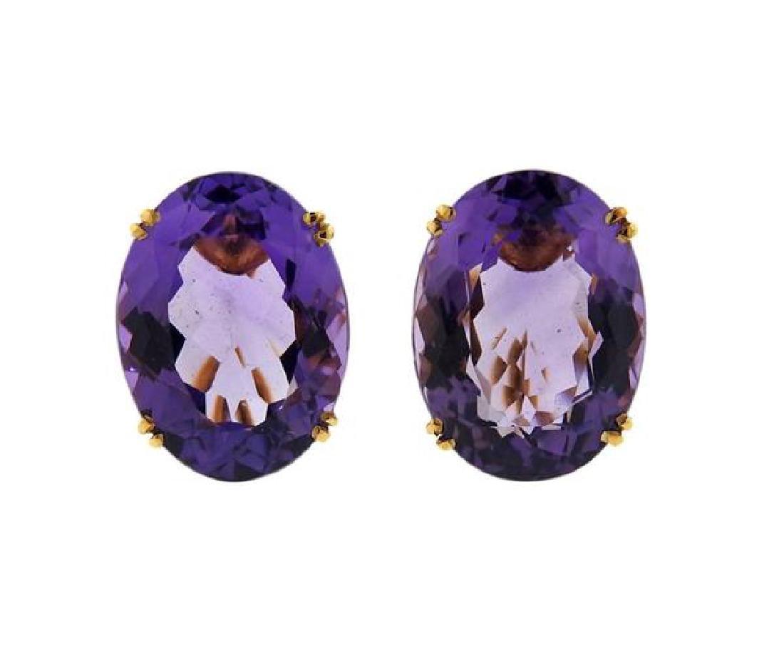 14k Gold Purple Stone Oval Earrings