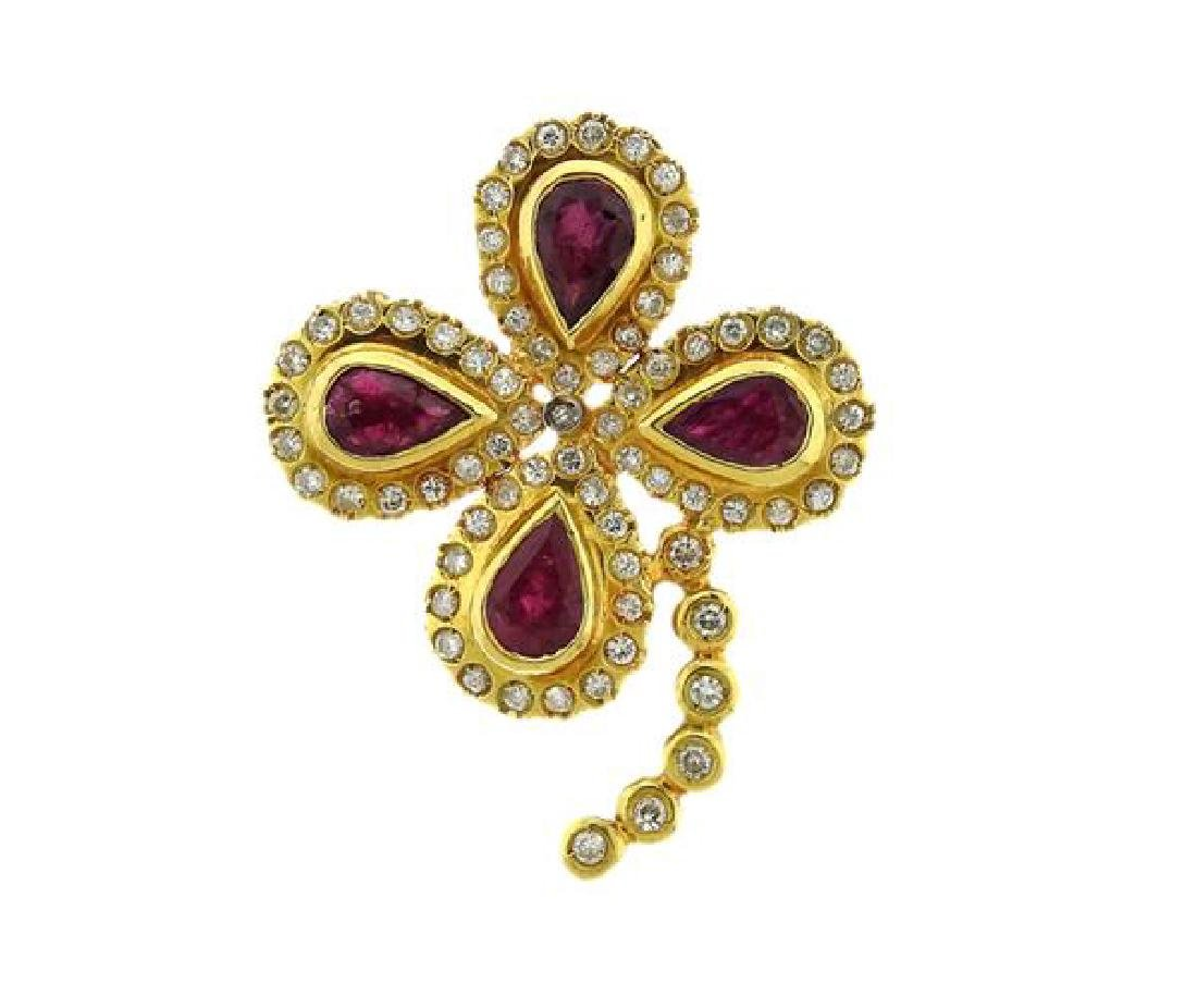 18K Gold Diamond Red Stone Brooch Pin