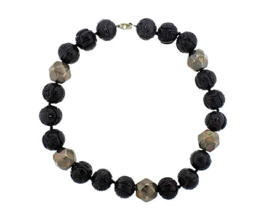 Silver Carved Black Jade Bead Necklace