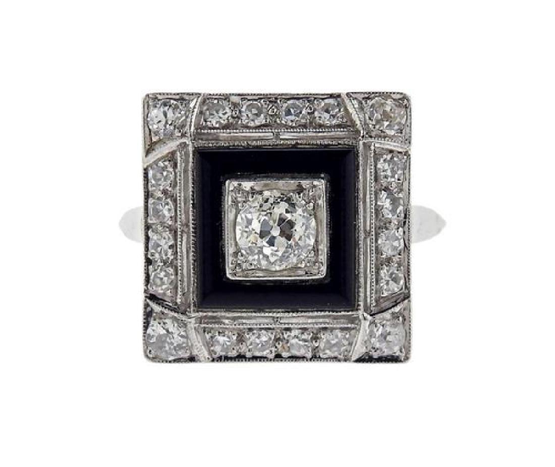 Art Deco Platinum Diamond Onyx Square Ring