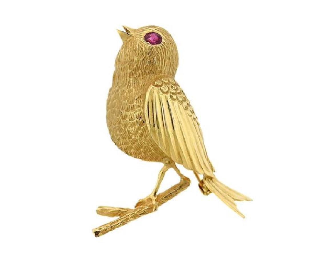 18k Gold Red Stone Bird Brooch Pin
