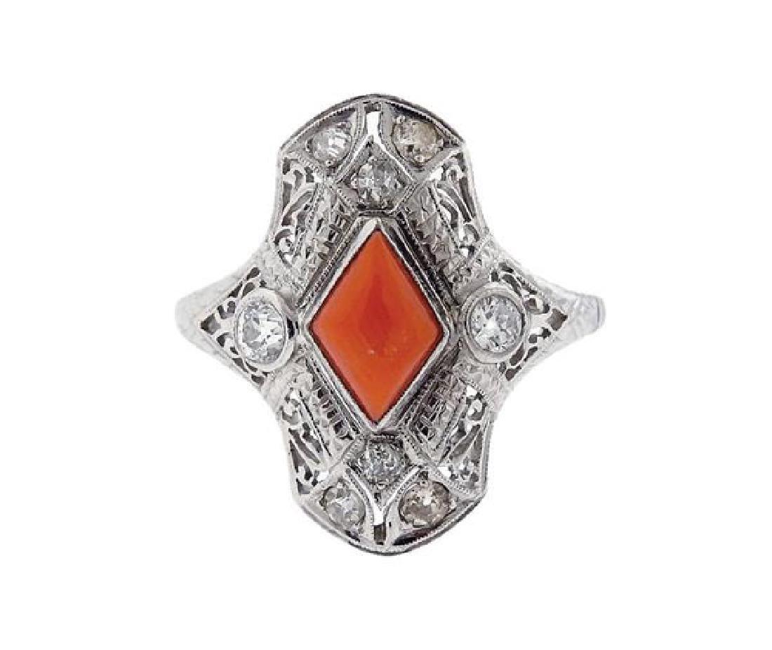 Art Deco 18k Gold Coral Diamond Ring