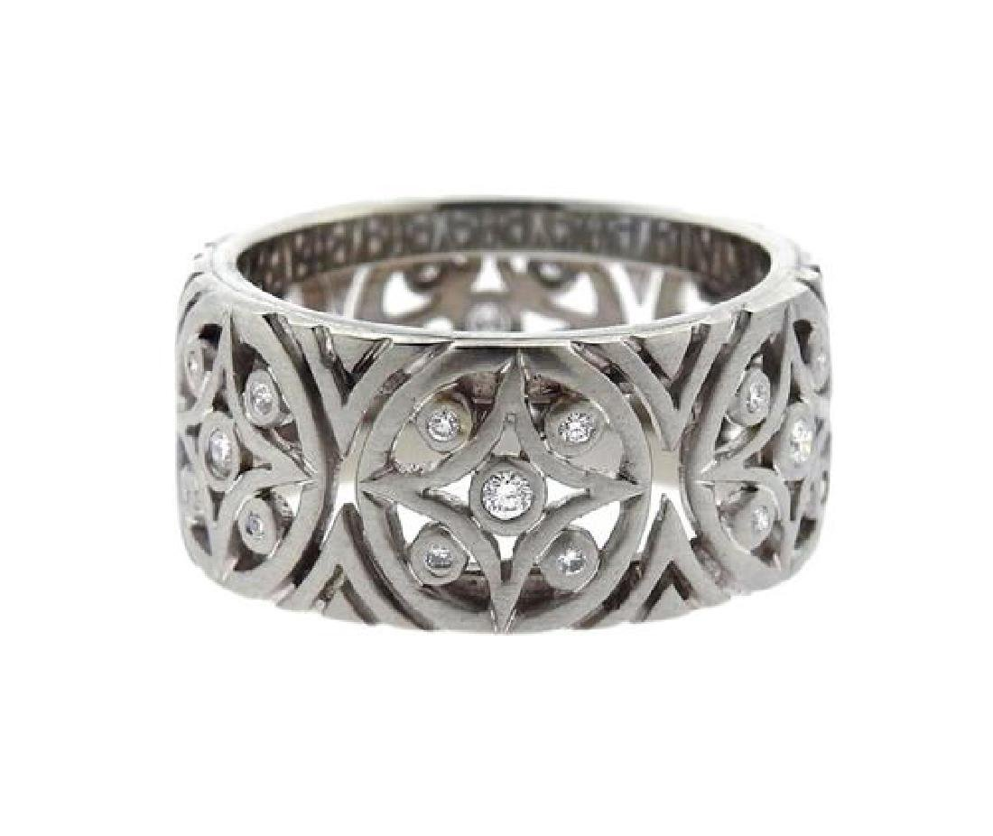 Platinum Diamond Wide Wedding Band Ring