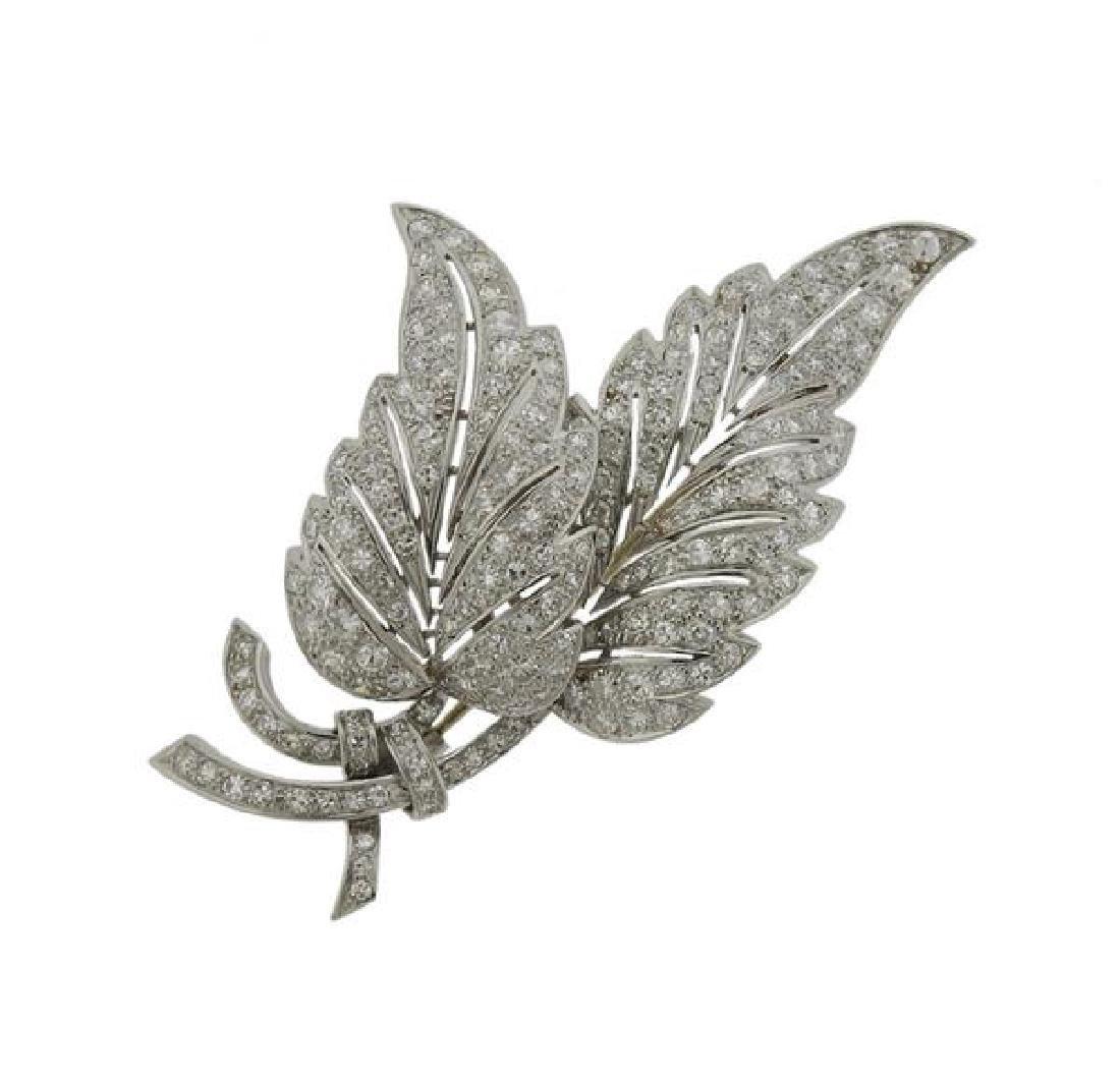 J. Roca Platinum Diamond Leaf Brooch Pin
