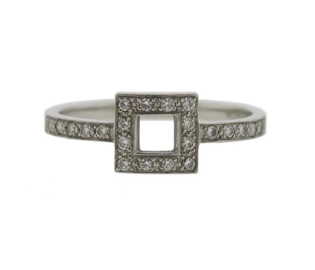 Tiffany & Co. Platinum Diamond Outline Square Ring