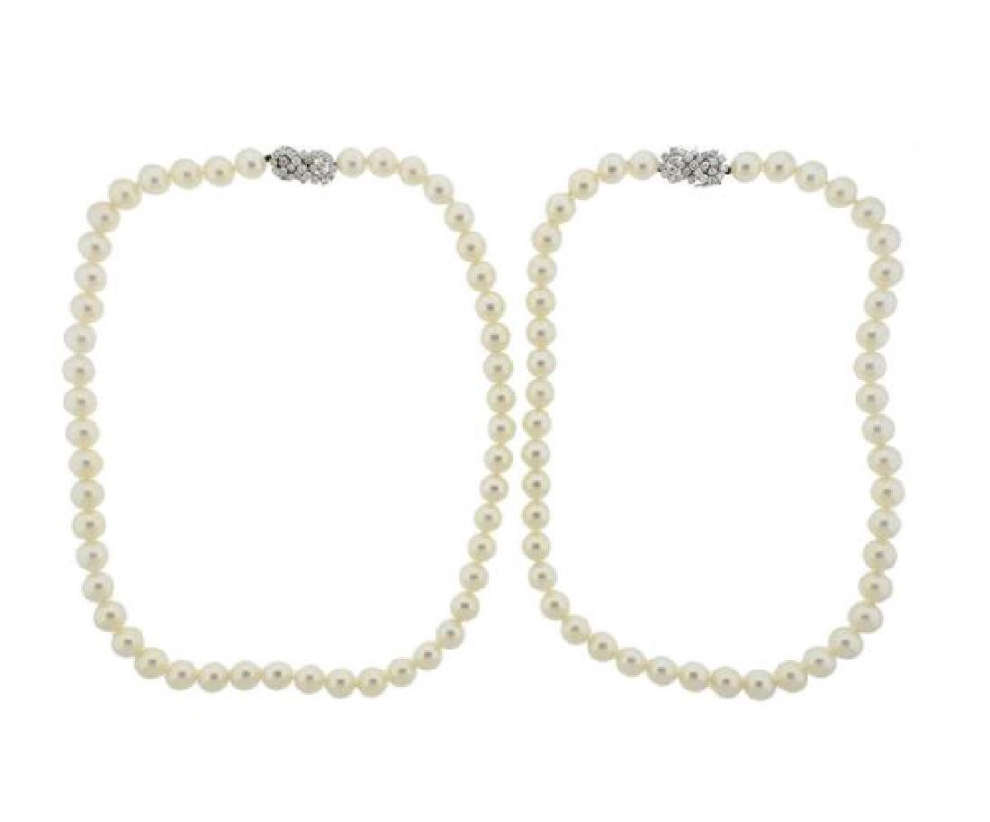 14K Gold Diamond Pearl Necklace Lot of 2