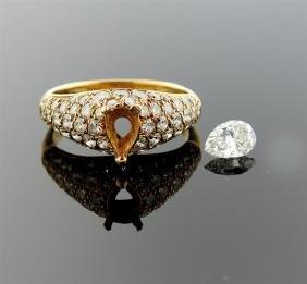 Cartier 18k Gold GIA 0.56ct VVS2 F Pear Diamond Ring