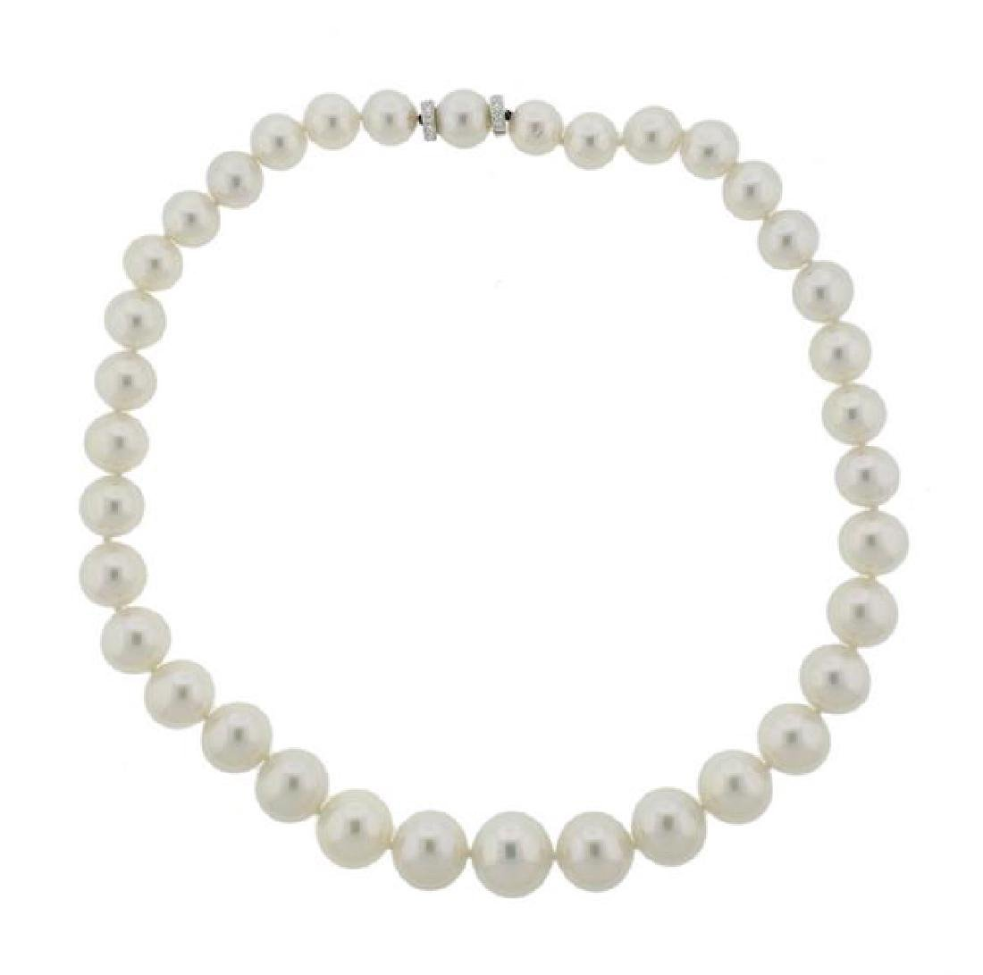18K Gold Diamond South Sea Pearl Necklace
