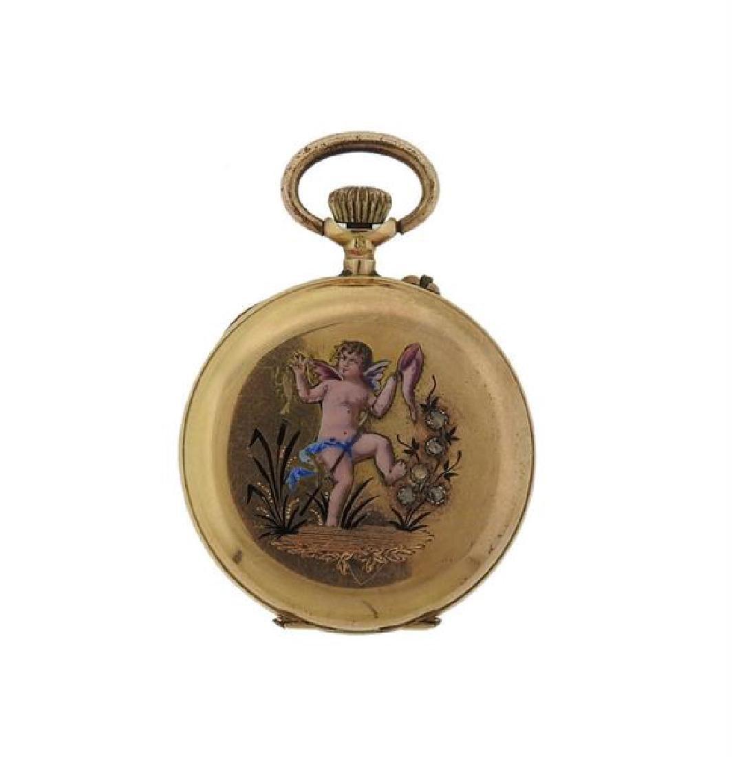 Antique 18k Gold Diamond Enamel Case Pocket Watch