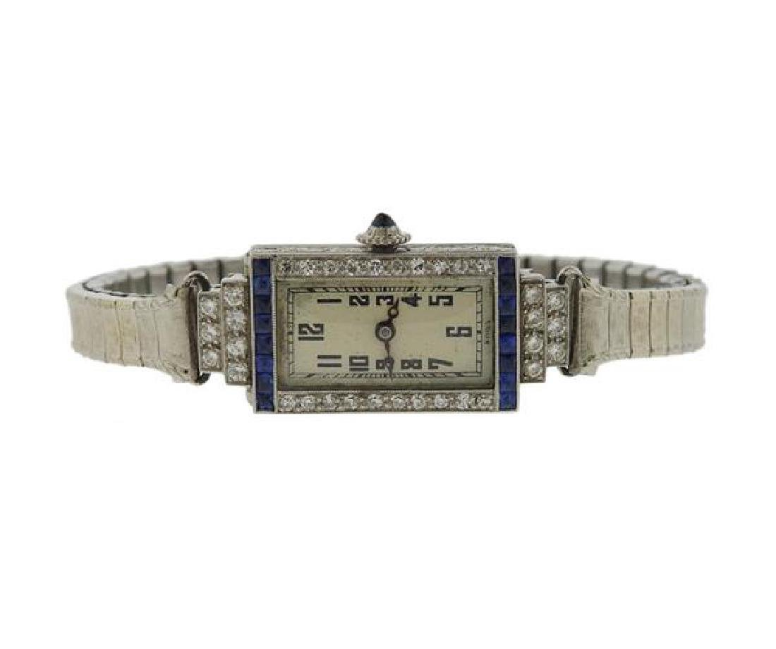 Art Deco Platinum Diamond Sapphire Lady's Watch
