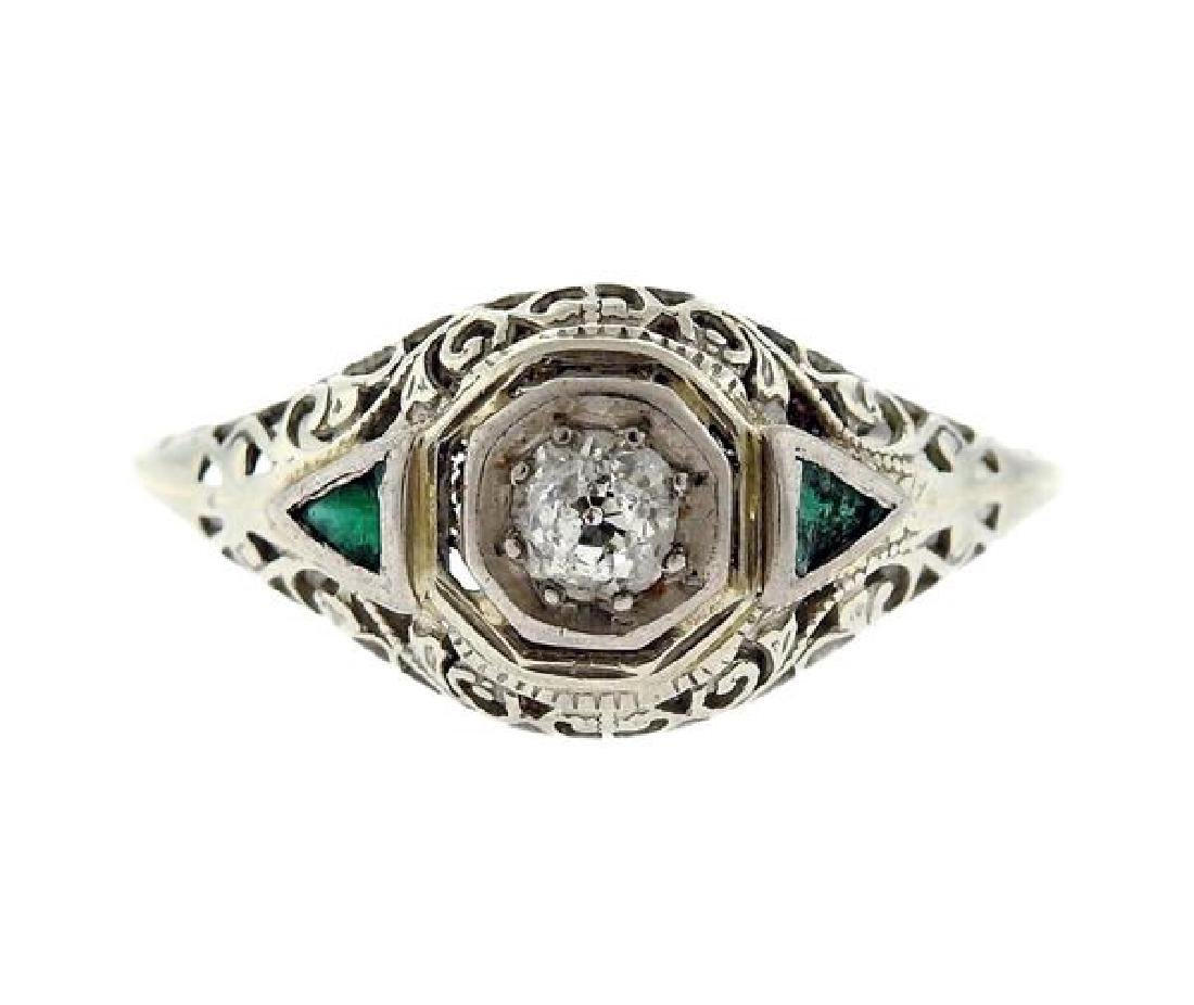 Art Deco Filigree 18k Gold Diamond Ring