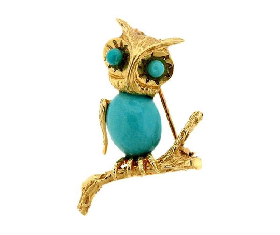 14k Gold Turquoise Owl Brooch Pin