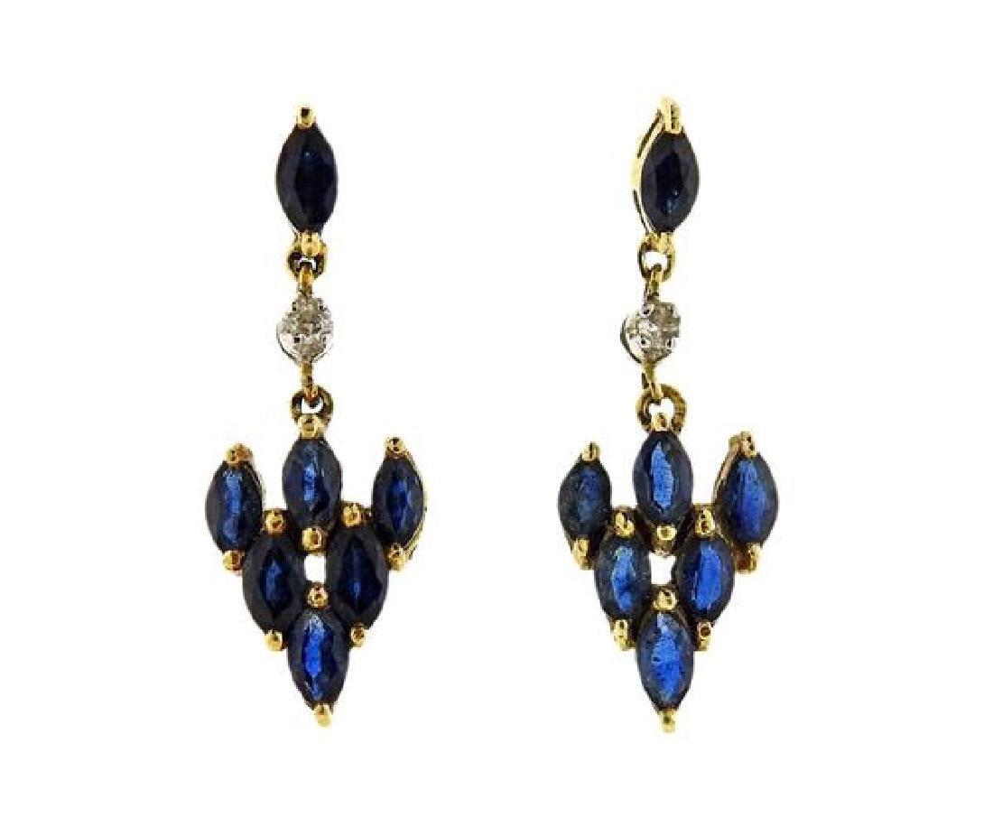 18k Gold Sapphire Diamond Drop Earrings