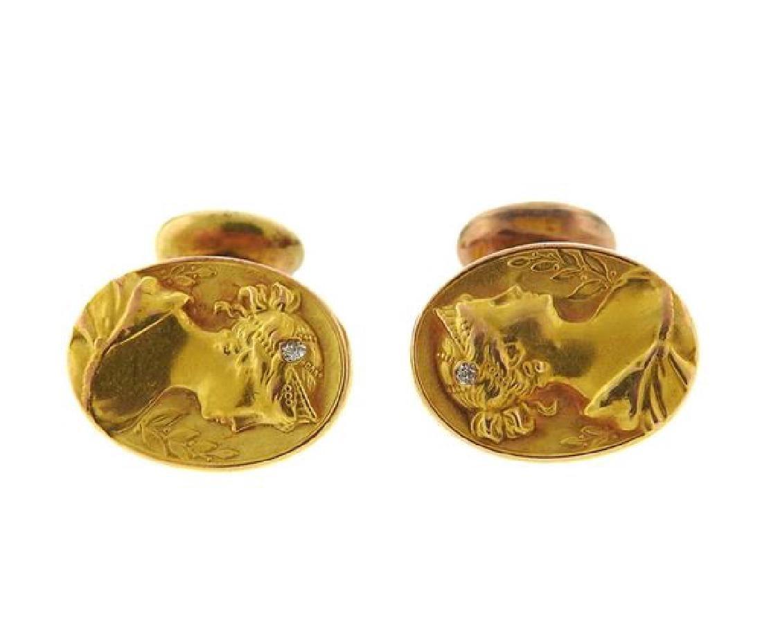 Art Nouveau 14k Gold Diamond Cufflinks
