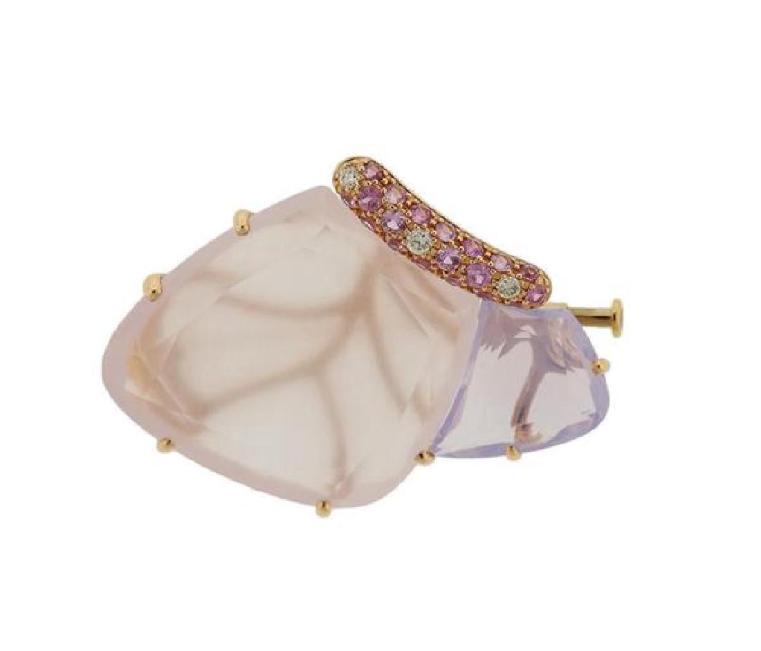 18k Gold Gemstone Diamond Butterfly Brooch Pin