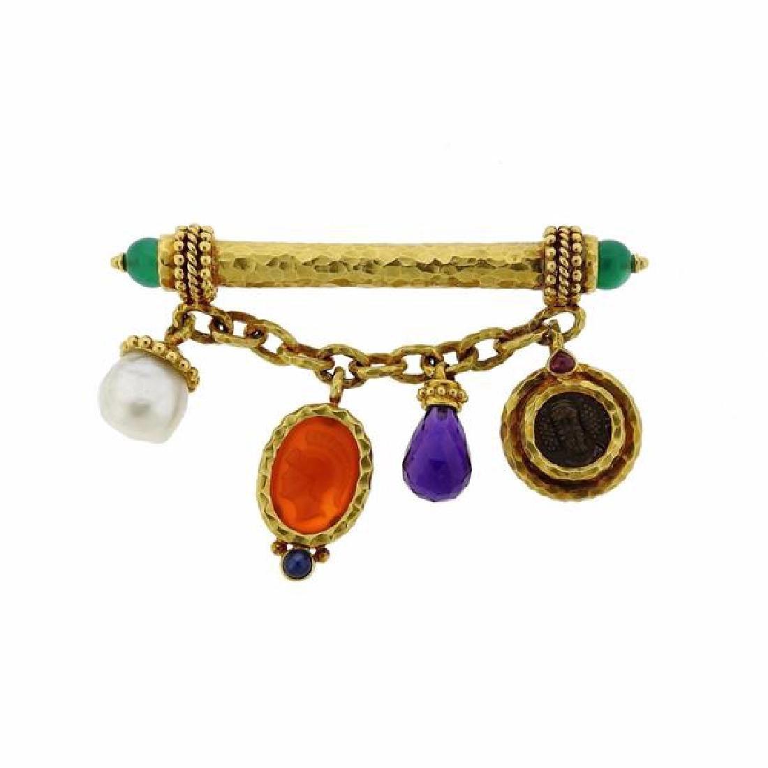18k Gold Coin Pearl Gemstone Charm Brooch Pin