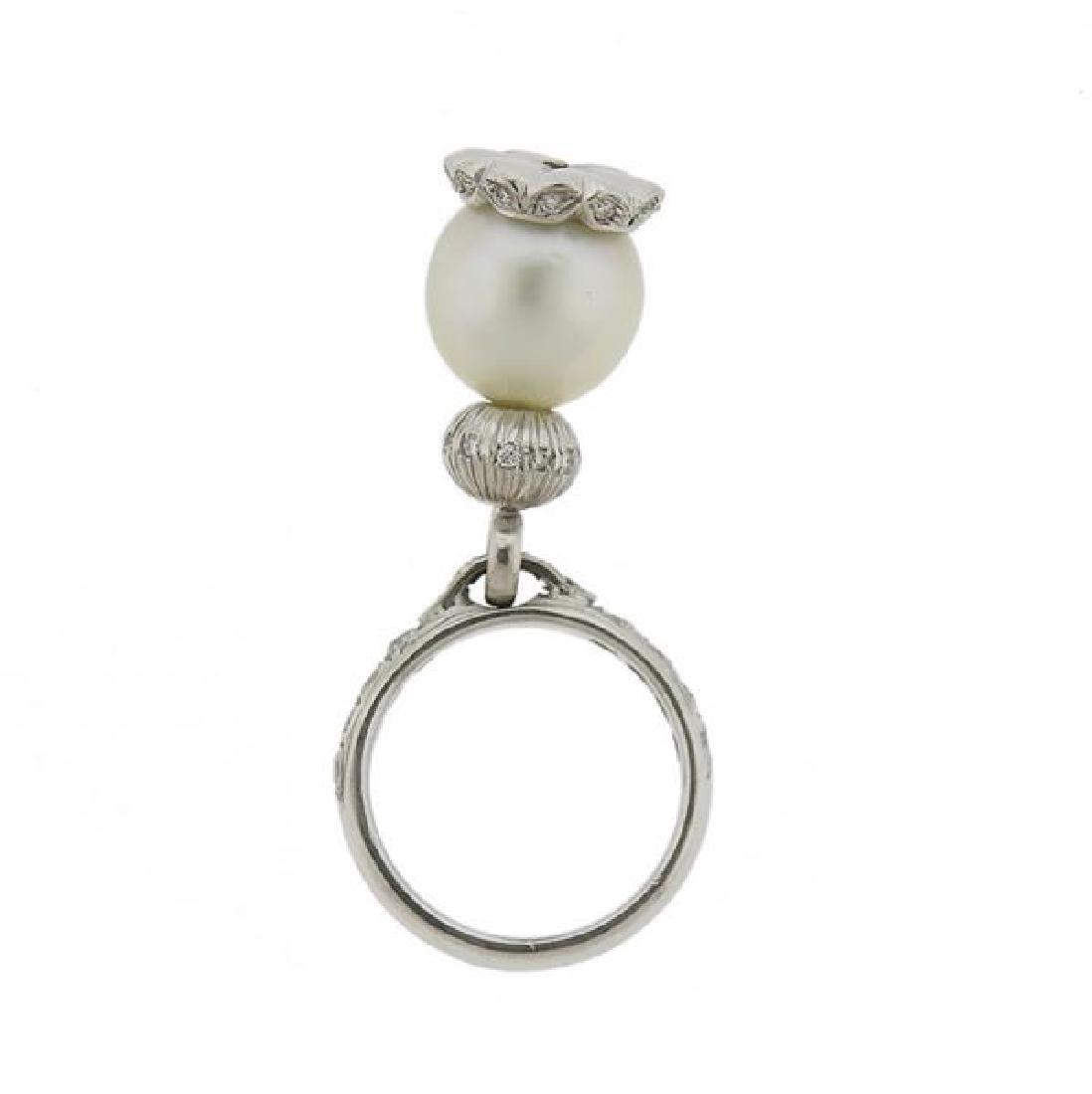 18k Gold Diamond Pearl Charm Ring