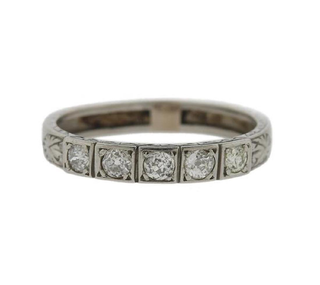 Art Deco Platinum Diamond 5 Stone Band Ring
