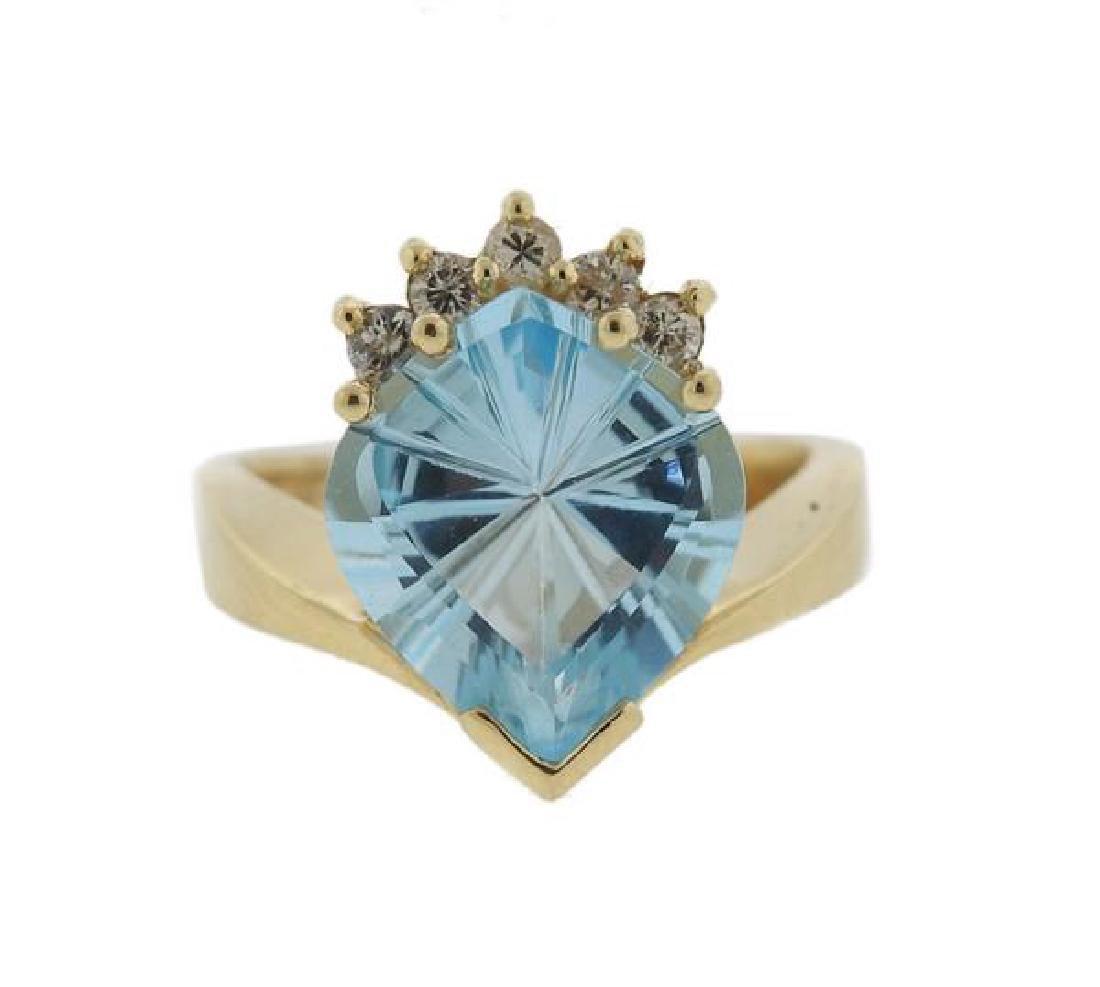 14K Gold Diamond Topaz Ring