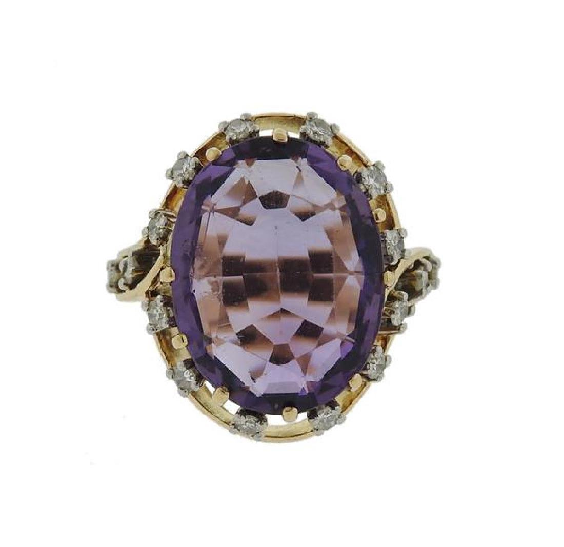18k Gold Amethyst Diamond Ring