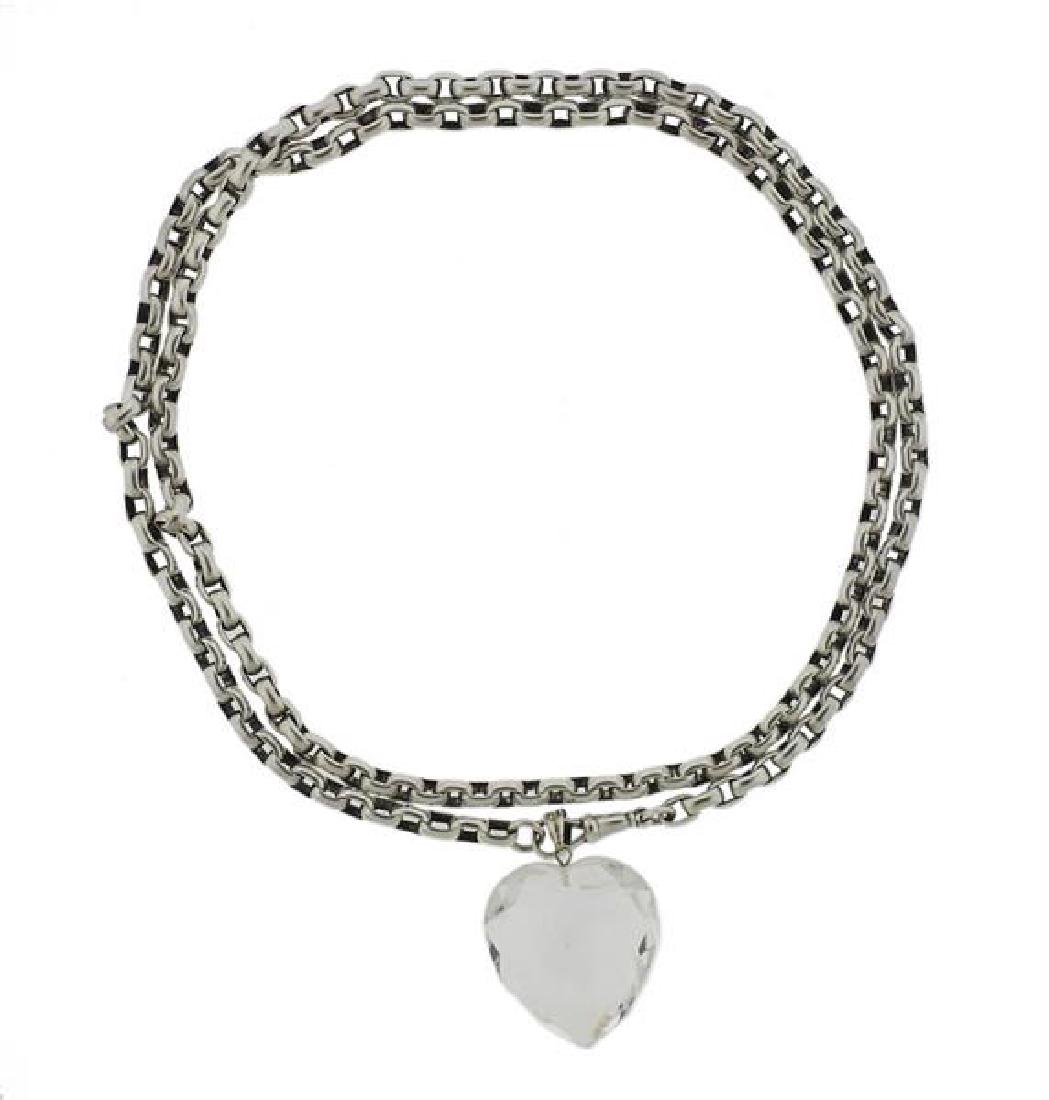 Sterling Silver Clear Stone Heart Pendant Necklace