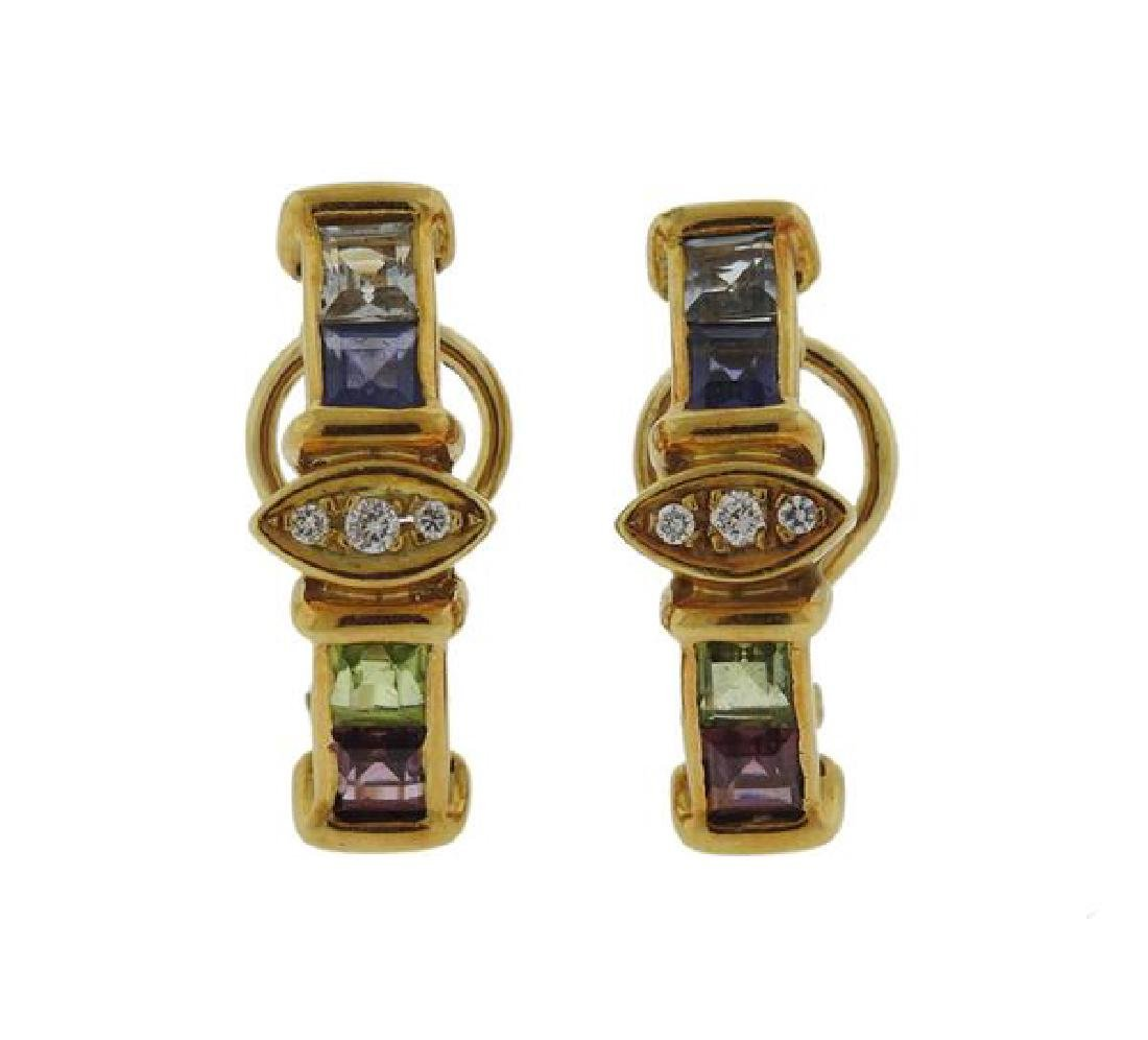 18k Gold Diamond Multi Gemstone Earrings