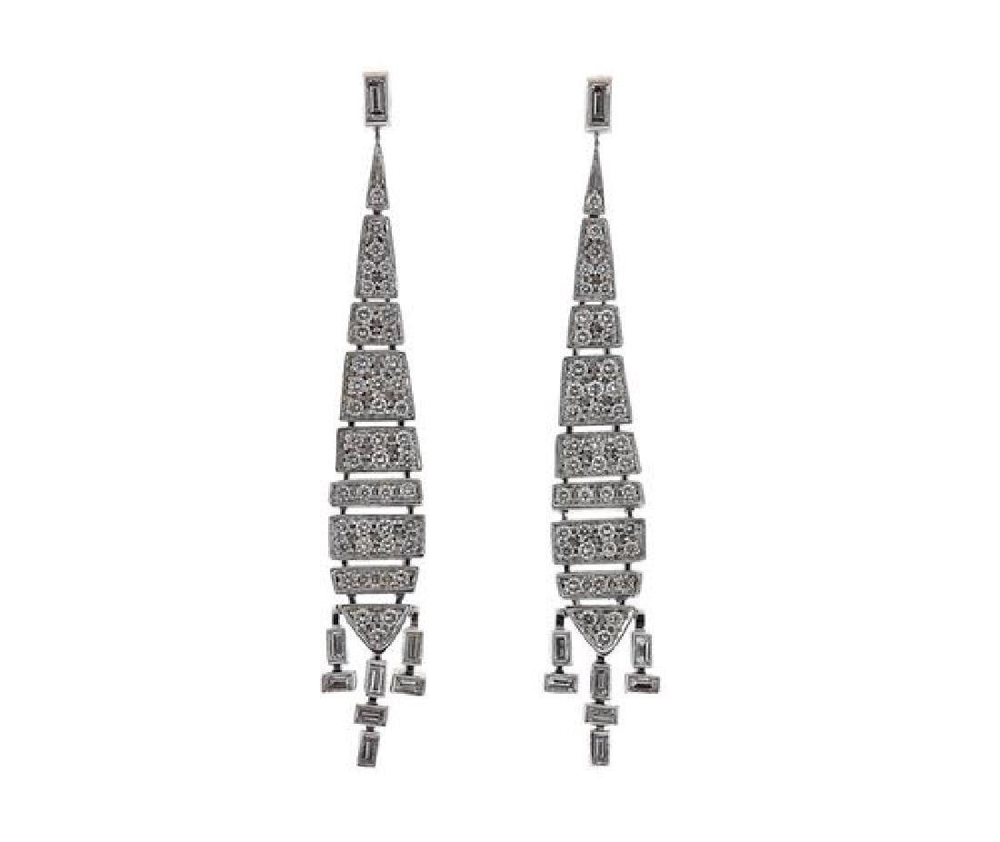 H Stern 18k Gold Diamond Deco Earrings