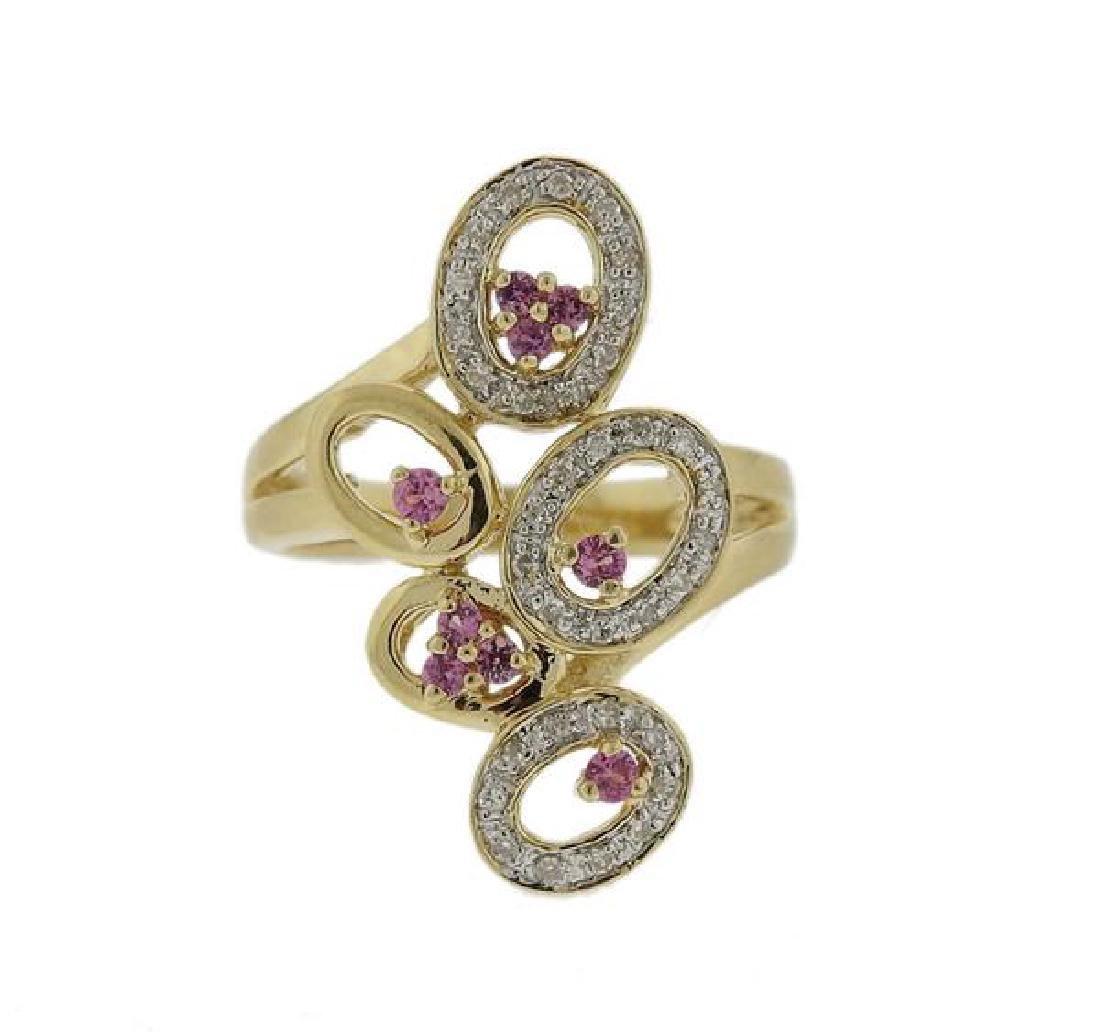 14K Gold Diamond Pink Sapphire Ring