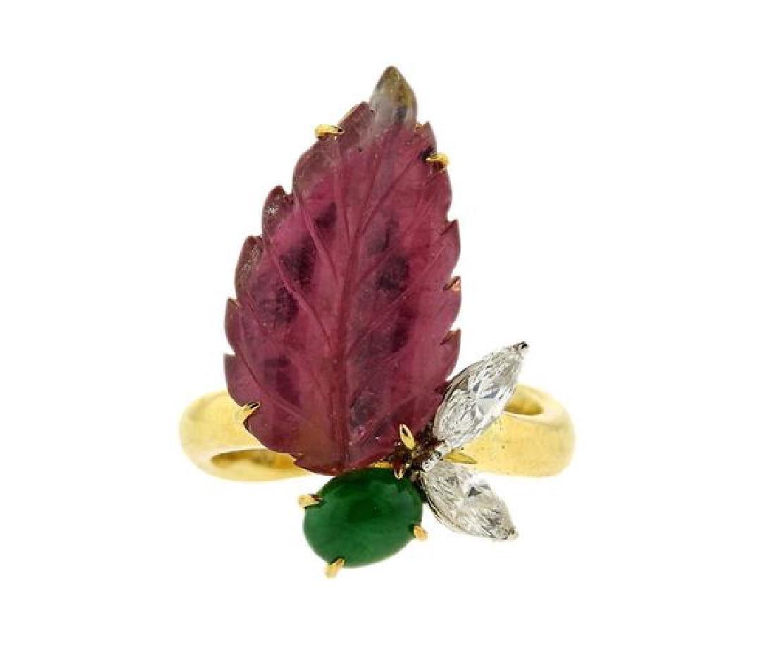 18k Gold Diamond Pink Green Stone Leaf Ring