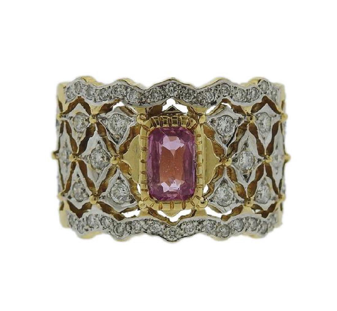18K Gold Diamond Pink Sapphire Band Ring